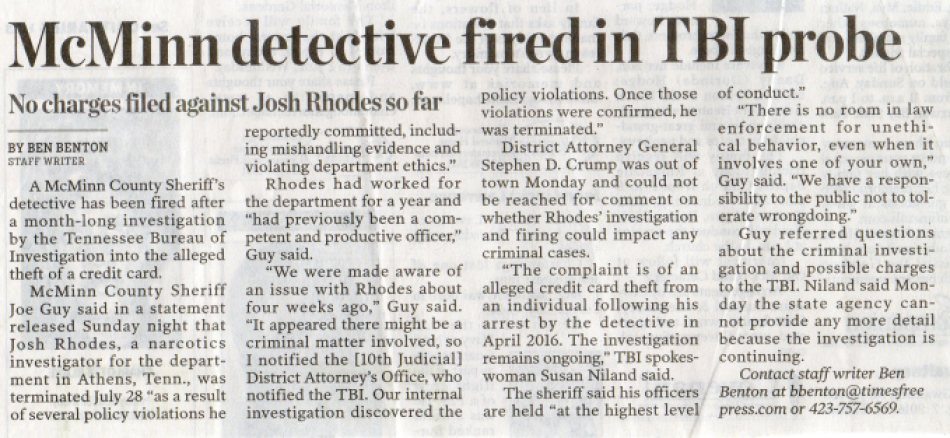 McMinn Detective Fired